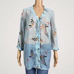 Jessica Simpson Floral Ruffle Maternity Shirt
